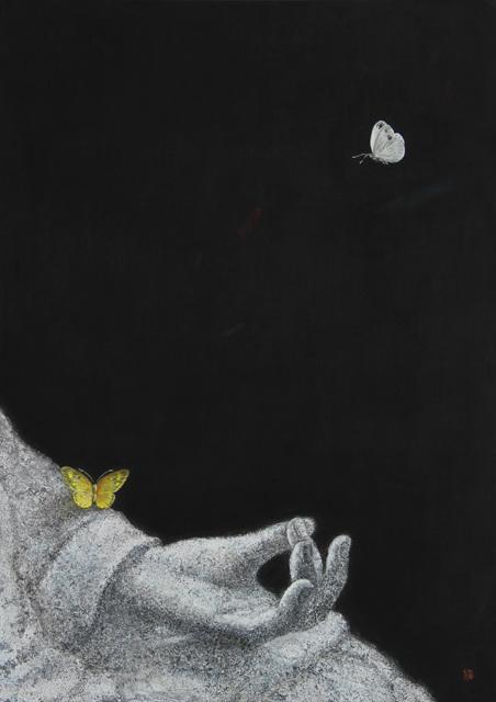 박은신 1. 훈습-사람들은 소리가 없고 나는 마음이 없습니다, 73×52cm, 순지에 분채, 석채, 은박, 2016 (1).jpg