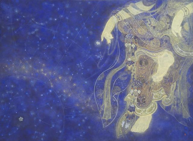 박은신 3. 눈물의 우주, 145×107cm, 장지에 분채, 금분, 2016.jpg