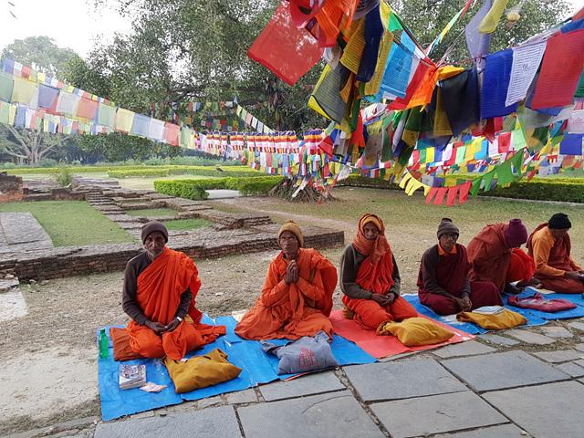 보리수 밑에 앉아 명상하는 네팔 승려들..jpg