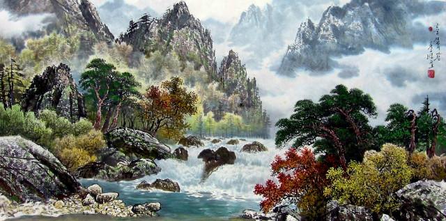 림룡순 금강산계곡의 아침.jpg