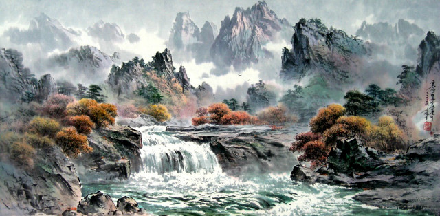 만수대창작사 1급화가 김성국 그림 금강산 비로봉 가는 길에.jpg