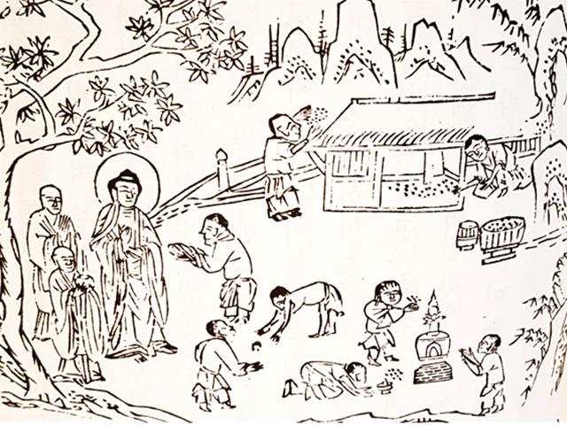 어린 아이가 부처님께 흙을 보시하는 장면. 이 아이가 전생의 아쇼카왕이다. 조선중기 판본. 석가모니 일대기 녹원전법상 중에서 '소아시토小兒施土' 장면.jpg