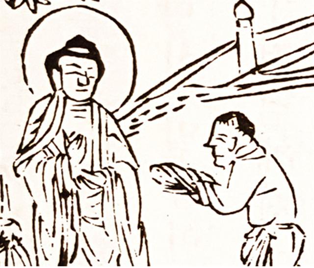 흙장난을 하던 아이가 '흙을 쌀가루'라 하고 한 줌 쥐어 부처님께 공양한다. 이 인연으로 아이는 부처님으로부터 '장차 전륜왕이 된다'는 수기를 받게 된다.jpg