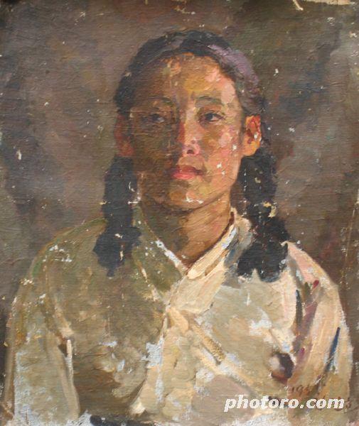 미인도.  동우 김관호 화백의 1955년 작인 '처녀(27x35cm) 북한 만수대창작사.jpg