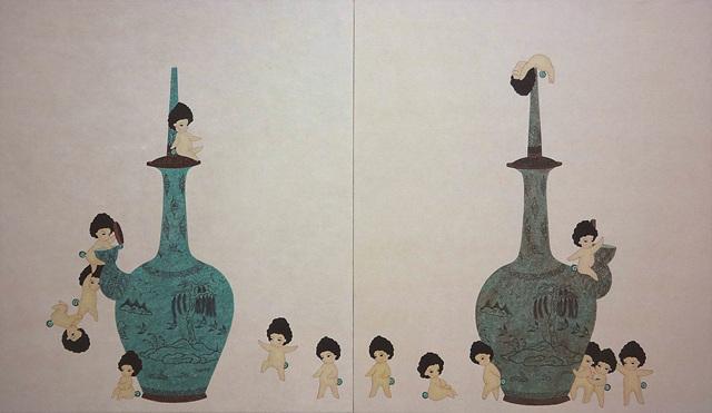 전도예 1. 다닥다닥, 45.5x103cm, 장지, 수간채색, 2016..jpg