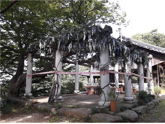 전통사찰과 어울리지 않는 돌기둥으로 세워진 용도를 알 수 없는 건축물.jpg