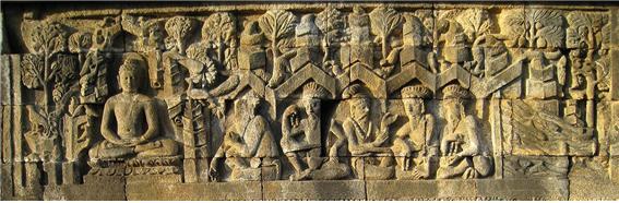 초전법륜상 보로부두르 사원 8세기 전반 자바섬 욕야카르타 북쪽 인도네시아.jpg