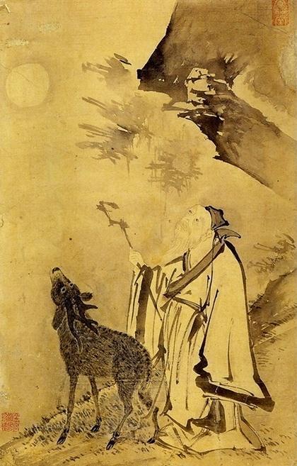 양송당 김시(金禔1524  1593)  선록완월仙鹿翫月  지본수묵.jpg