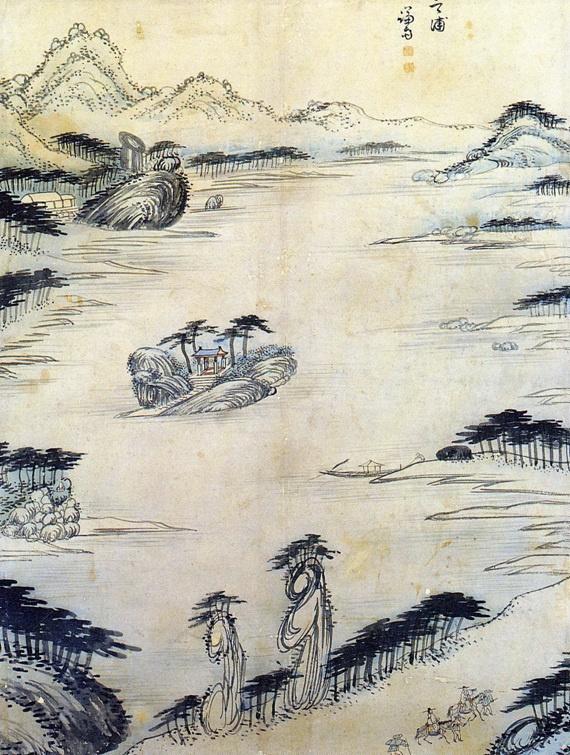 겸재 정선. 해악팔경 중에서 삼일포(三日浦), 지본담채,  56.0 × 42.8 cm, 간송미술관 소장.jpg
