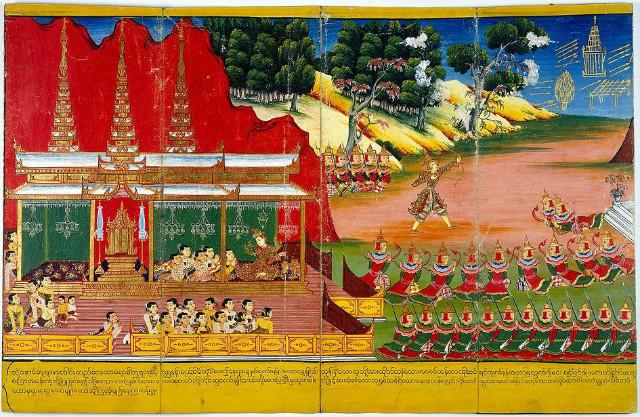 (왼쪽) 아래의 야소다라(Yasodhara)가 (오른쪽)위의 싯다르타 태자(Siddhārtha 悉達多太子)가 활(弓)을 쏘는 모습을 손가락으로 가리키고 있다..jpg