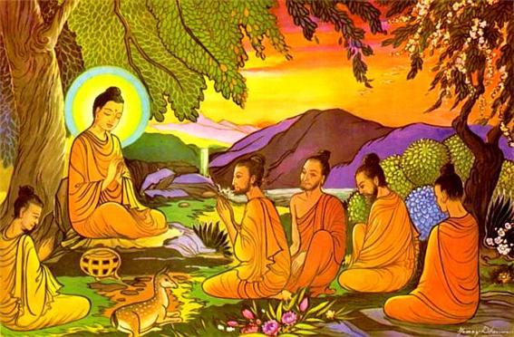 (도판01) 녹야원(사르나트)에서 다섯 비구에게 첫 설법하시는 석가모니 붓다.jpg