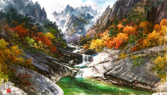 금강산 련주담, 107cm x 72cm, 조선화, 문정웅, 2007.jpg