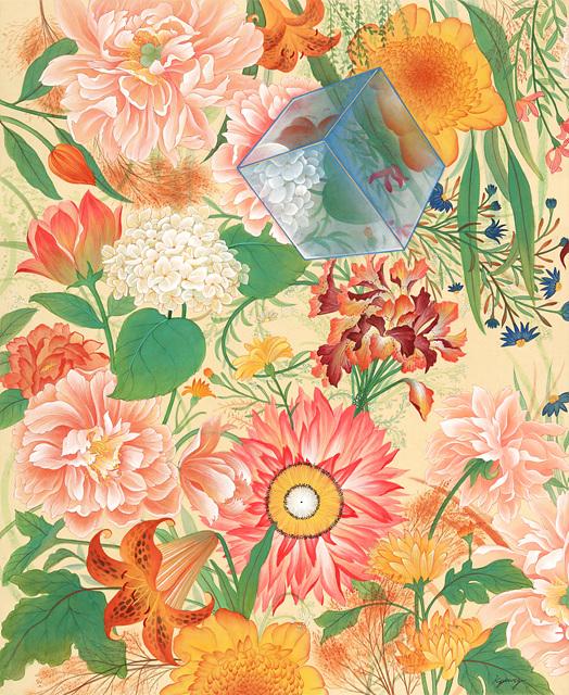꽃들 속에서 희망을 담다1 비단에 석채 김경아 102.5X84cm 2020.jpg