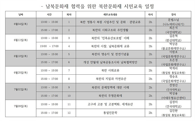 북한문화재 바로 알기 시민교육 일정.jpg