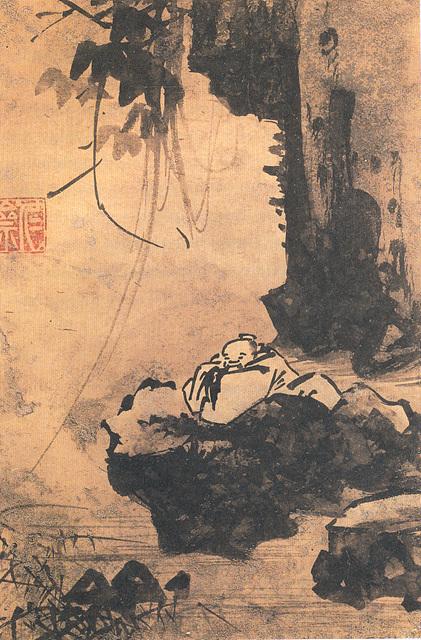 고사관수도高士觀水圖, 강희안, 조선 15세기 중반, 종이에 수묵, 23.4×15.7㎝, 국립중앙박물관 소장.jpg