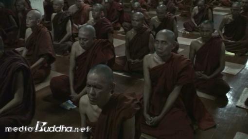 괴로운 감각을 관찰하며 수행을 하고 있는 순룬명상센터의 스님들